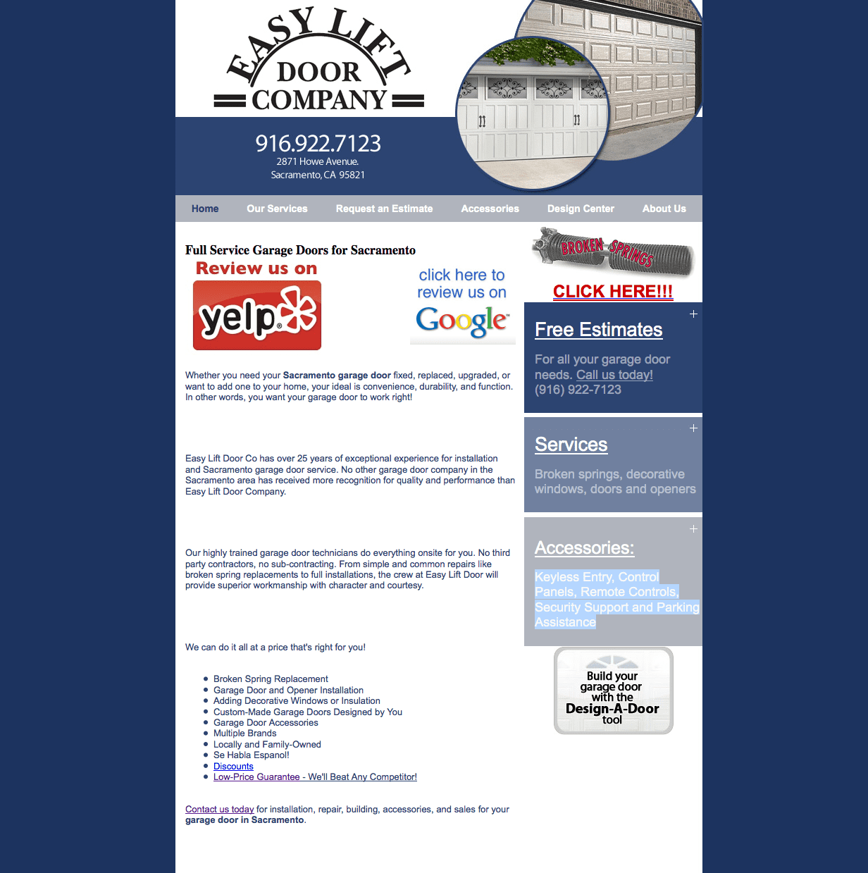 Old Website Design  sc 1 st  Webinet Media & Easy Lift Door Company - Webinet Media